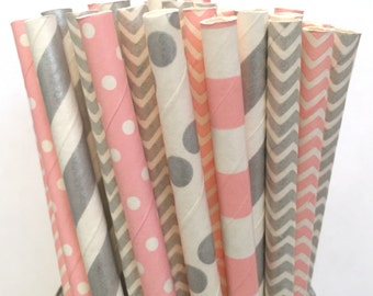 2.85 US Shipping -Pink and Silver Paper Straws- Chevron, Polka Dot, Striped- Cake Pop Sticks - Drinking Straws
