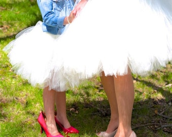 White Mommy & Me Tulle Skirts - Dress duo, Girls tutu, Twinning, Wedding tulle skirt, Two-of-a-kind, ladies tulle skirt, SEWN tulle skirt