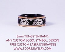 Black Tungsten Band with 14K Rose Gold Step Edge Mickey Mouse Design Pattern Ring - 8mm Tungsten Ring