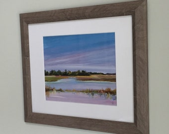 Lowcountry Charleston marsh painting, print of an original acrylic painting, tidal creek at sunset painting.