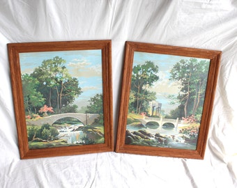 Vintage paint-by-number pictures, framed - large, pair, set, two, lovely garden, bridge, water, soothing turquoise, blue, green and peach