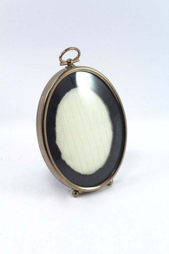 Vintage Oval Picture Frame Gold Tone Brass Metal Small