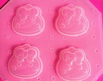 4pc Kawaii Hoppe Chan Drop With Bow Cabochon Flexible Plastic Mold For Resin Crafts Polymer Clay