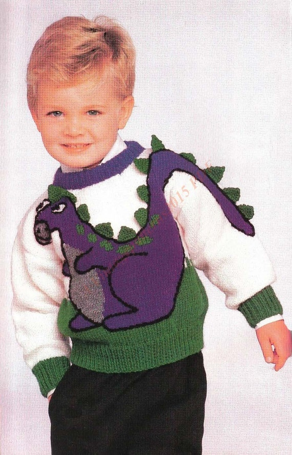 Dinosaur Sweater Knitting Pattern 53cm-62cm by ...