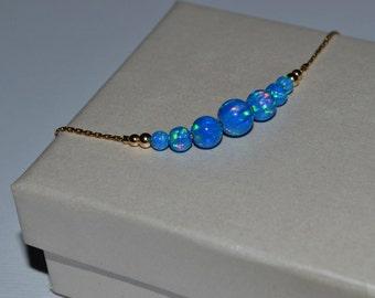 OPAL BRACELET // Dark Blue Opal Ball Bracelet - Opal Charm Bracelet - Opal Bead Bracelet - Opal Dot Bracelet - Everyday Opal Bracelet