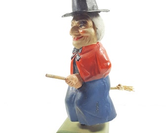 Antique German Witch Cardboard Full Body Nodder. Vintage Halloween Decorations. Antique Halloween.