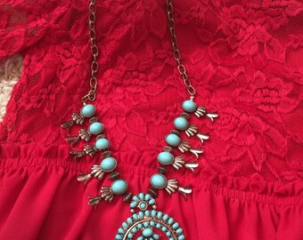 Boho Ethnic Squash Blossom Necklace and Earrings Set Rose Gold