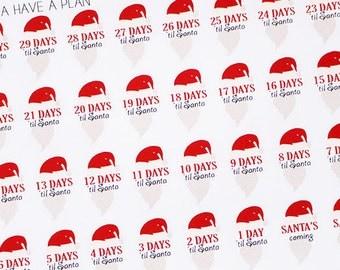 Planner Stickers Countdown to Christmas for Erin Condren, Happy Planner, Filofax, Scrapbooking