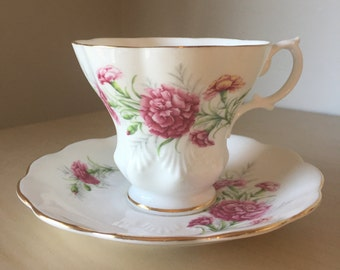 """Royal Albert """"Carnation"""" Friendship Series Vintage Teacup and Saucer, Pink Flower Tea Cup and Saucer, English Floral Bone China"""