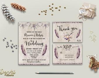 Boho Wedding Invitation Printable Wedding Invitation Suite Rustic Wedding Invite Bohemian Wedding Invite Set DIY Wedding Invite Digital File