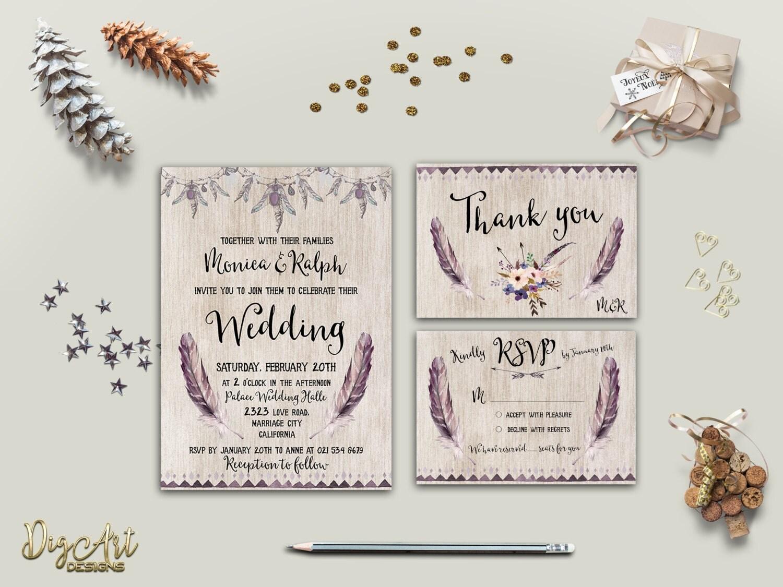 Boho Chic Wedding Invitations: Boho Wedding Invitation Printable Wedding Invitation Suite