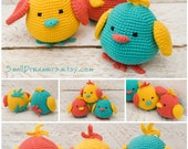Cheerful birds Crochet bird toy Bright birds Nursery decor Stuffed Baby bird Crochet toy Woodland nursery decor Soft baby gift Playful birds
