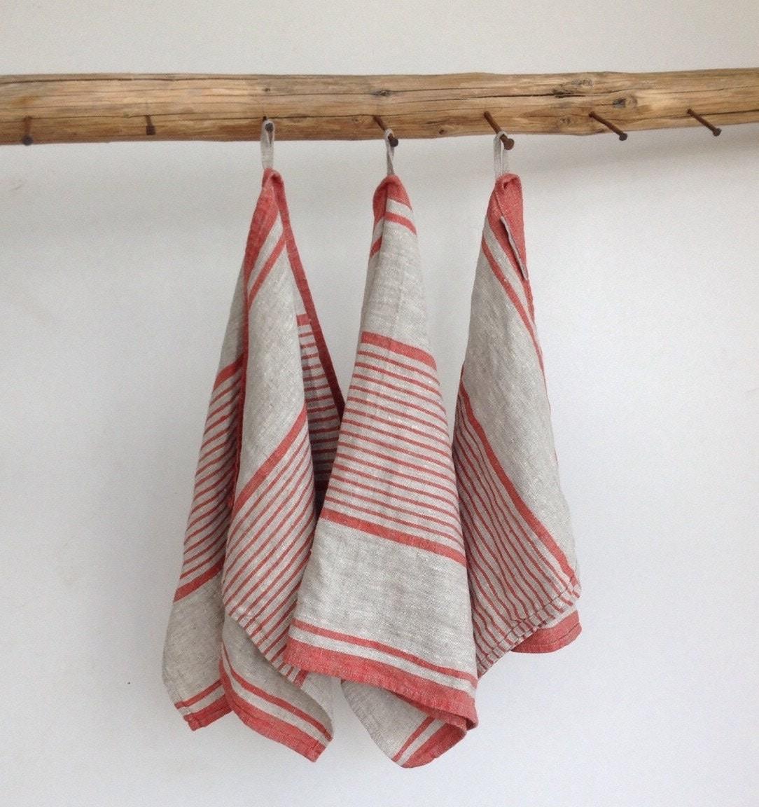 Kitchen Linen Set: Rustic Linen Tea Towels Set Of Three French By Linenbeeshop