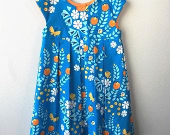 4T Organic Geranium dress, 100% Organic Cotton Meadow Blossoms Blue, Cloud9 Fabric, Blue, Orange, White
