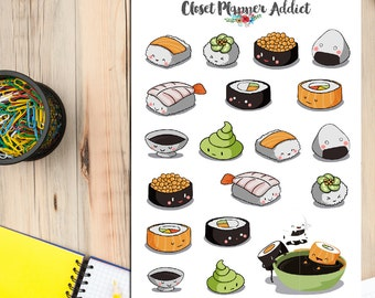 Kawaii Sushi Planner Stickers | Sushi Stickers | Japanese Food Stickers | Kawaii Stickers (S-122)