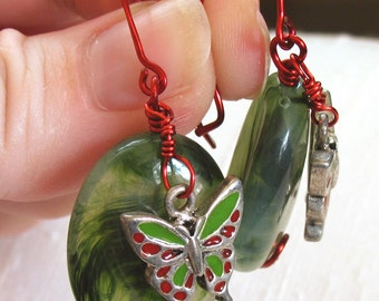 Christmas Butterfly Earrings ~ Red and Green Enamel Butterflies ~ Hand Forged Red Wire Shepherd Hook Earwires