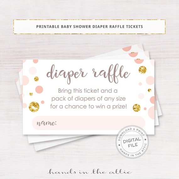 baby shower diaper raffle tickets  pink and gold baby