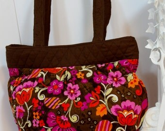 Purse gathered quilted quilted large shoulder bag brown floral corduroy tote pink orange