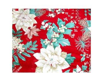Christmas fabric - red fabric - Poinsettia fabric - fabric yardage -fabric by the yard -  # F 15