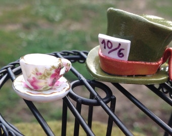Miniature tea cup and saucer rose design for fairy garden dollhouse tea party
