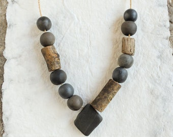 pit fired ceramic necklace, wooden beads and pebble; artisan necklace; primitive jewelry; bohemian necklace