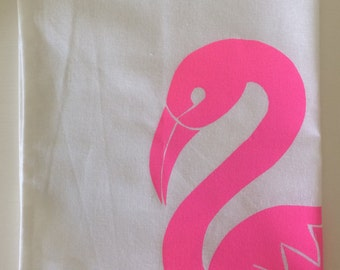 Screenprinted Tea Towel - Hand drawn, hand cut and hand printed flamingo design