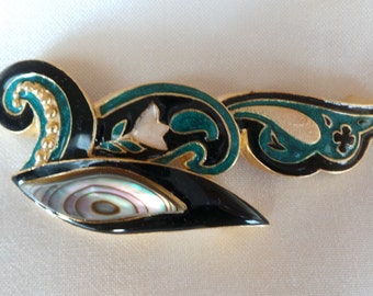 PIN / brooch Golden brass black enamel and insert green mother of Pearl