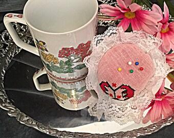 Vintage sugar cup sewing box with pin cushion top