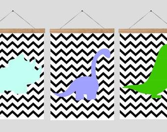 Dinosaur triple posters, Dinosaur Nursery Wall Art, colorful Nursery Set, zig zag Nursery Prints, 8x10 DIGITAL DOWNLOAD,