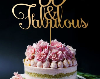60th Birthday Cake Topper - 60th Anniversary Cake Topper - 60 and Fabulous - Happy 60th Cake Topper A2049