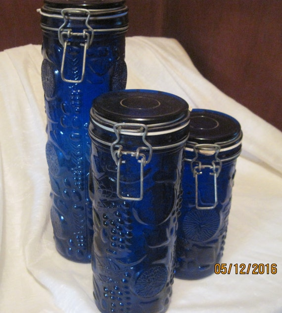 Pressed Cobalt Blue Glass Canisterskitchen Storagejars With
