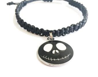 LifeBoho-Nightmare Before Christmas Macrame Bracelet, Jack Skellington Macrame Bracelet, Nightmare Before Christmas Bracelet FREE SHIPPING
