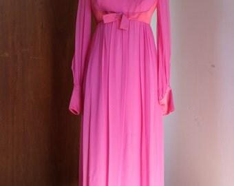 Vintage 60s Hot Pink Chiffon Maxi Prom Dress Empire Waist Long Sleeves Bow Satin