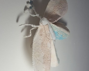 Blue and white lace textile moth