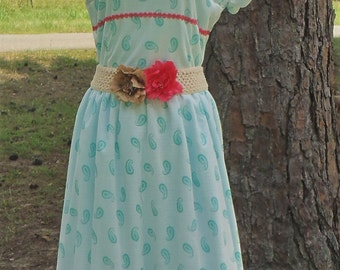 paisley dress, vintage style dress, 1950s style dress, midi dress, gift for her, womens clothing, modest dress, modest clothing