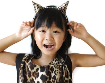 leopard ears headband, halloween headband, cosplay leopard ears, children leopard ears, kids cat costume, animal headband, costume ears