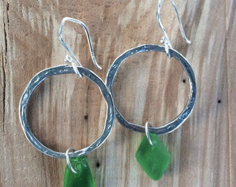 Sterling Silver Genuine Surf Tumbled Green Sea Glass Hammered Hoop Dangle Earrings