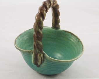 Green bowl with handle 50s