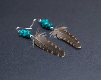 Pheasant feather earrings with turquoise gemstone Tribal jewelry Ethnic earrings  Dangle earrings Gift for her Womens gift Native American