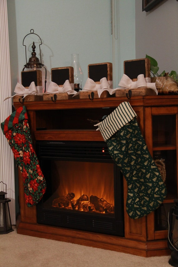 rustic christmas stocking holders with chalkboard set of 4. Black Bedroom Furniture Sets. Home Design Ideas