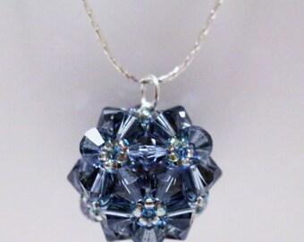 Smoky Blue Crystal Flower Pendant (Swarovski)
