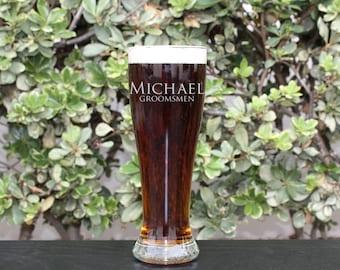 Groomsman Gift, Personalized Beer Glasses, Personalized Glass, Custom Engraved Beer Glasses, Engraved Pilsner Glasses, --GLS-PILSNER-Michael