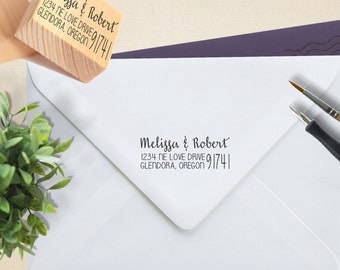 Rubber Stamp, Wood Mount Stamp, Custom Return Address Stamp, Wood Mount Return Address Stamp, Return Address stamp --WM-BL-Melissa Robert