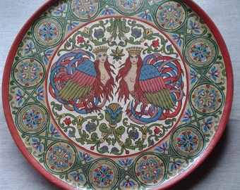 """Russian folk art.Wooden painted collectible plate, ancient Russian style, """"Sirin Bird"""""""