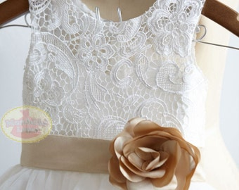 Ivory Lace Tulle Flower Girl Dress Junior Bridesmaid Wedding Party Dress with Champagne BeltF0051