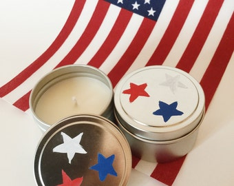 Citronella candles/6oz tins/ Fourth of July/ outdoor/ bug repellent/ refillable/zero waste/ soy wax/set of two/ hand painted