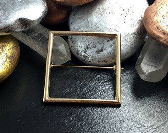 Geometric Square Brooch in Gold or Silver