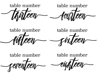 Wedding table numbers, vinyl decals, table numbers, vinyl stickers