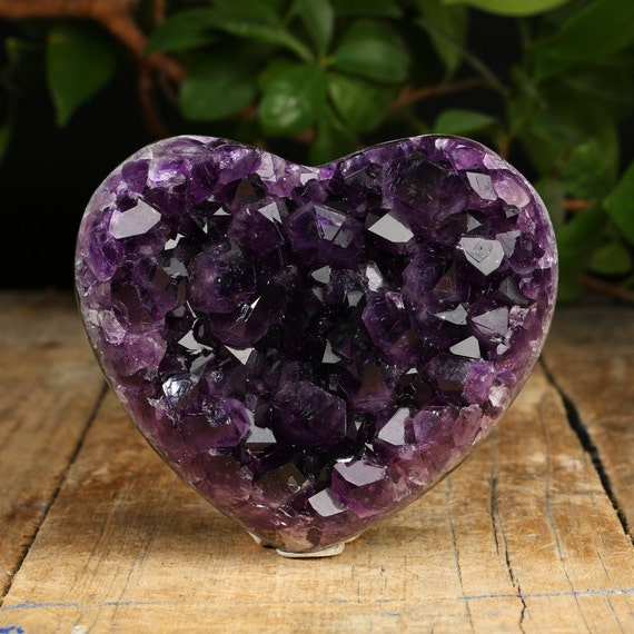 Green Amethyst Geode : Super quality amethyst geode heart with large by