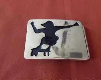 Vintage Brass Buckle Skateboarder